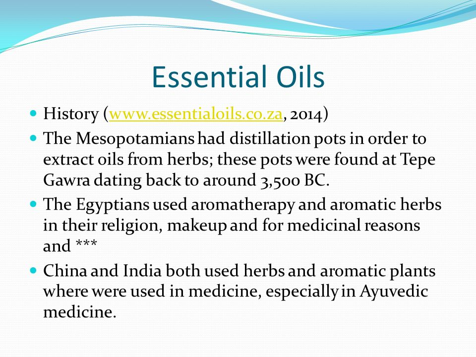 Essential Oils History