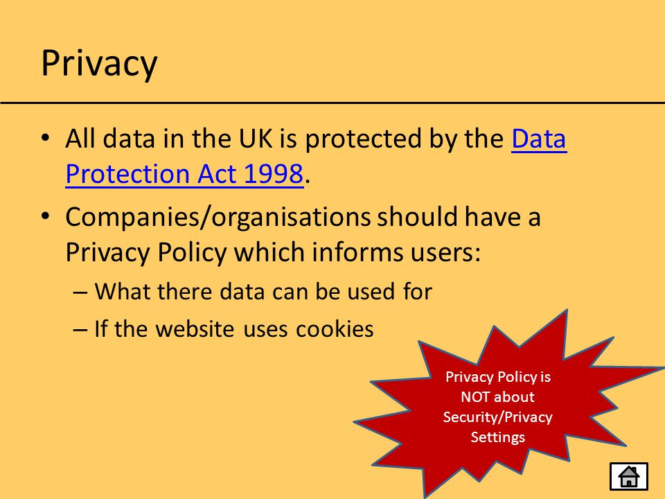Privacy Policy is NOT about Security/Privacy Settings