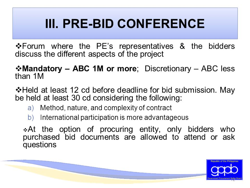 Bidding Procedures For The Procurement Of Goods And Services Ppt Download