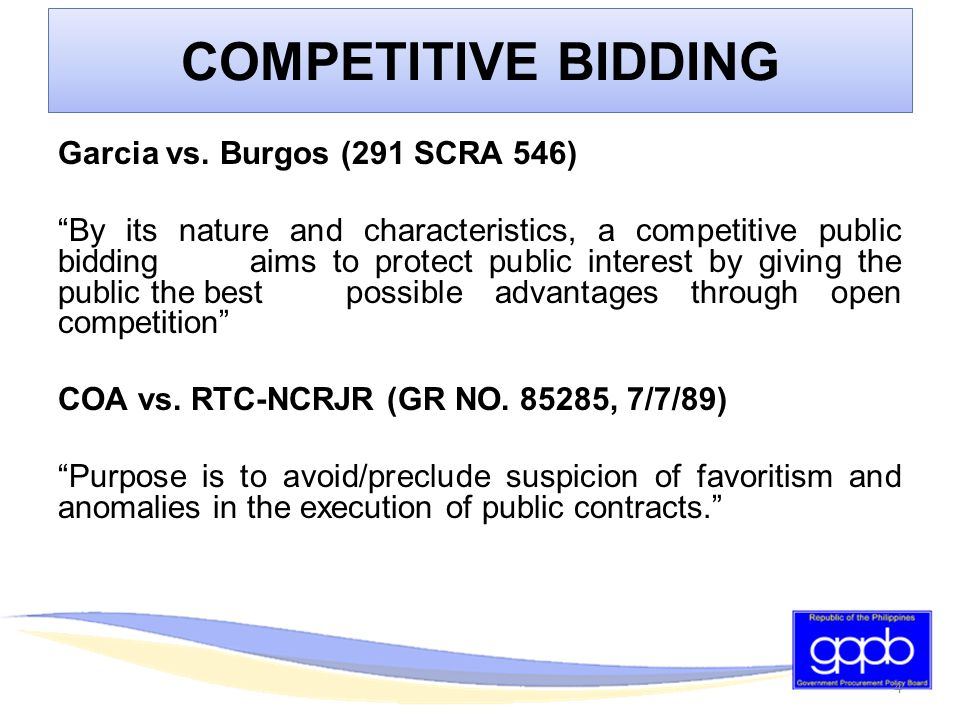 BIDDING PROCEDURES FOR THE PROCUREMENT OF GOODS AND SERVICES