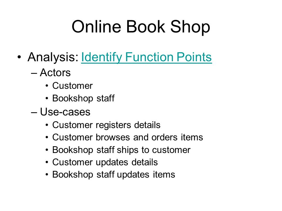 Online book shop conceptualization bookshop books musiccds online book shop analysis identify function points actors use cases ccuart Choice Image