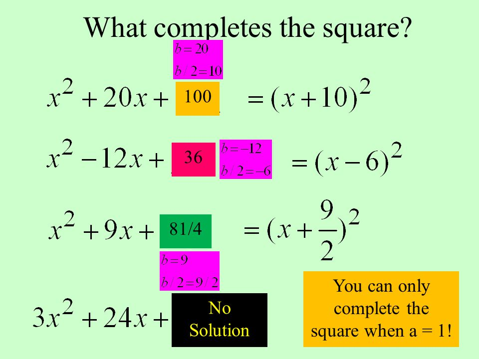 What completes the square