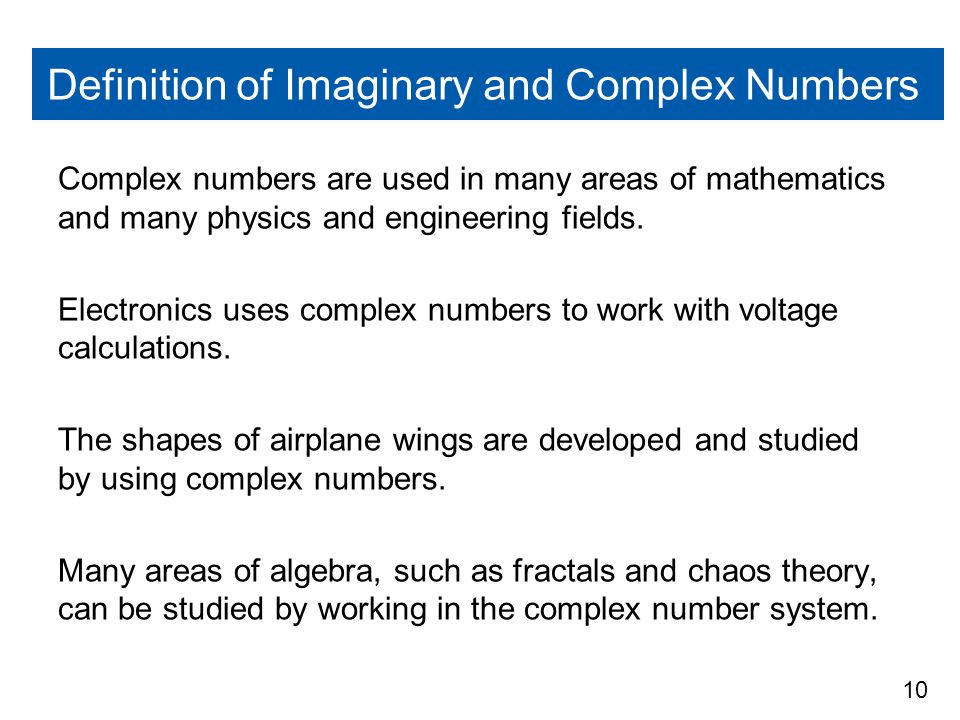 Definition of Imaginary and Complex Numbers