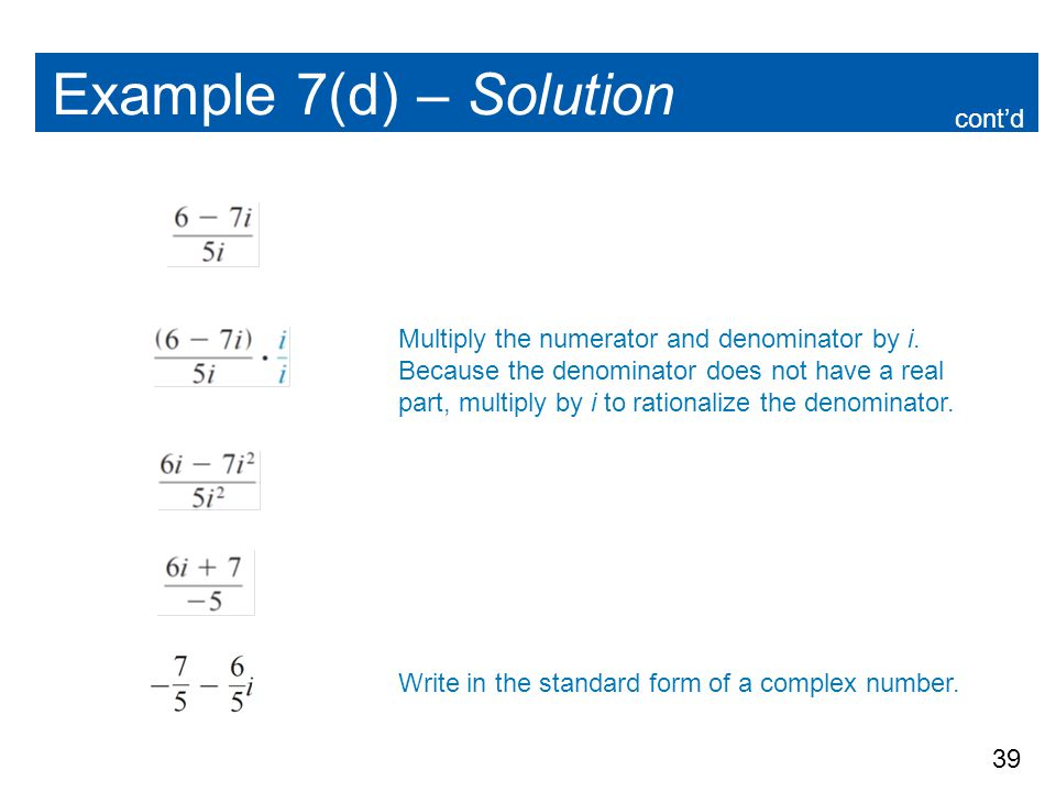 Example 7(d) – Solution cont'd
