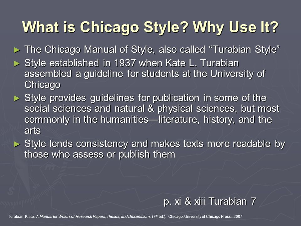 turabian style essay writing Turabian is a simplified name of a manual for writers of term papers, theses, and dissertations, which was created by kate turabian in 1937 in order to make it easier for students to write their papers in accordance with the chicago manual of style requirements.