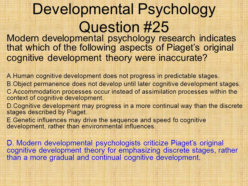 developmental psychology questions