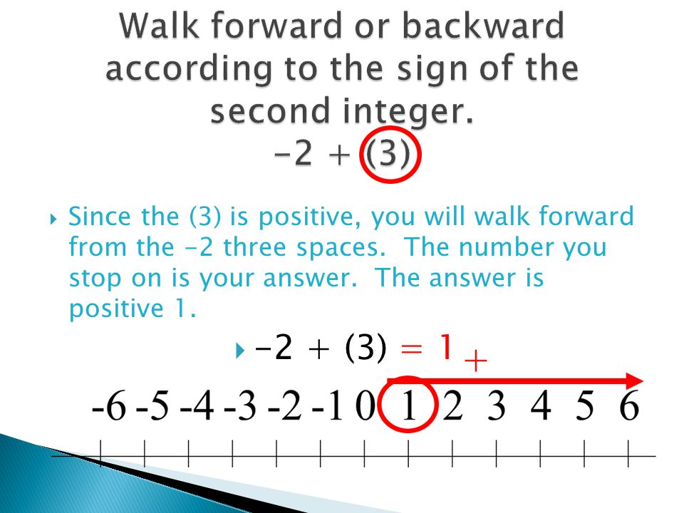 Walk forward or backward according to the sign of the second integer