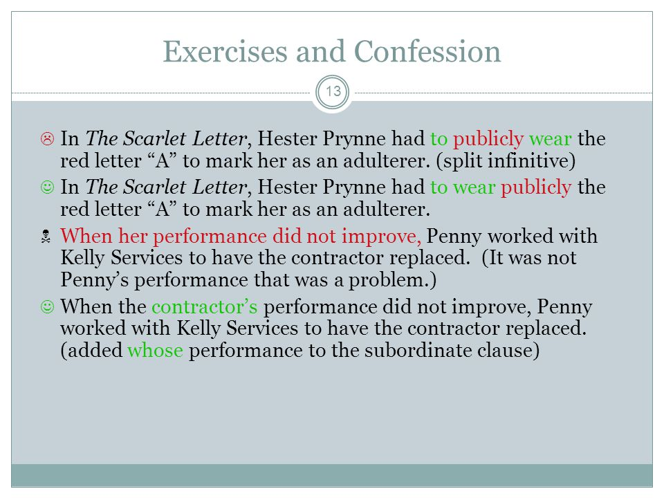 Exercises and Confession