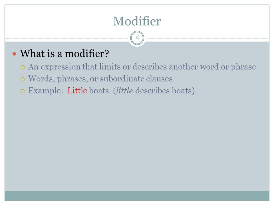 Modifier What is a modifier