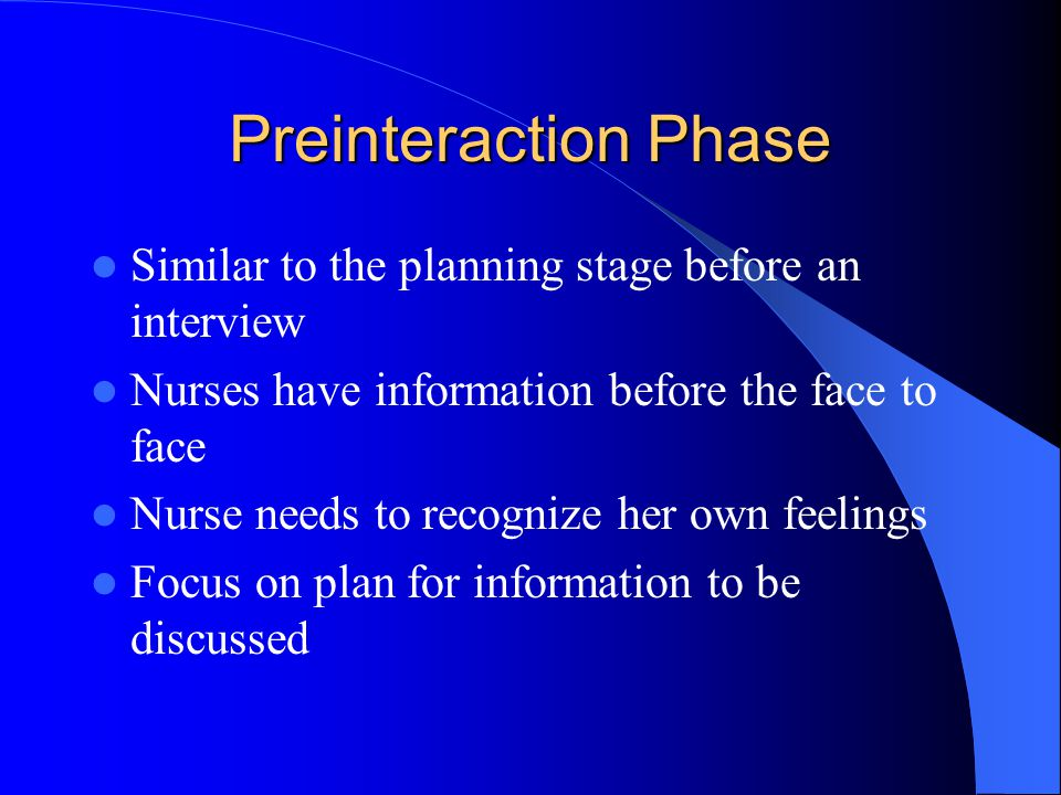 Preinteraction Phase Similar to the planning stage before an interview
