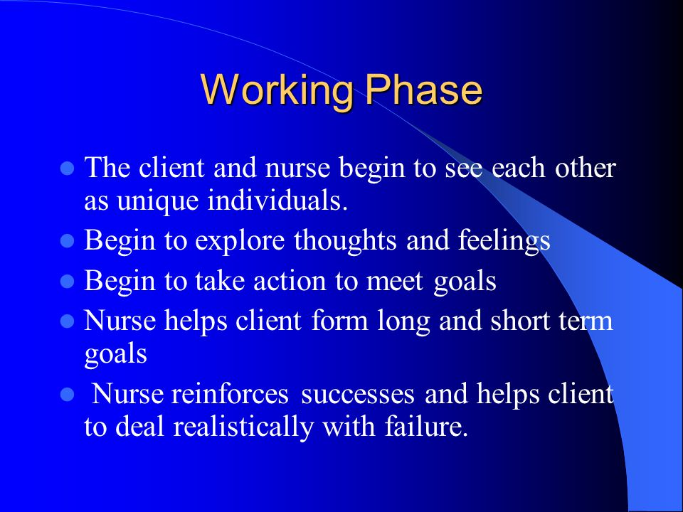 Working Phase The client and nurse begin to see each other as unique individuals. Begin to explore thoughts and feelings.