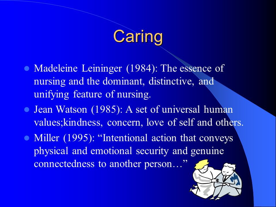 Caring Madeleine Leininger (1984): The essence of nursing and the dominant, distinctive, and unifying feature of nursing.