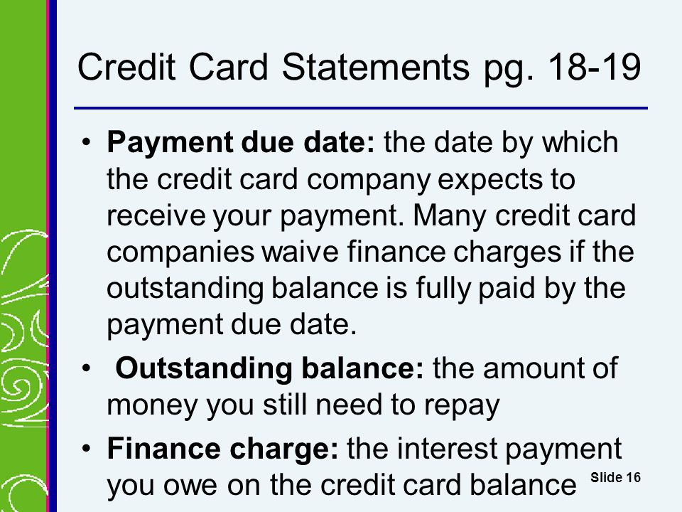 Credit Card Statements pg