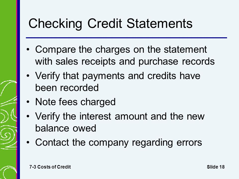 Checking Credit Statements