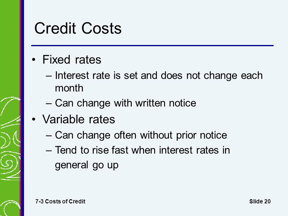Credit Costs Fixed rates Variable rates