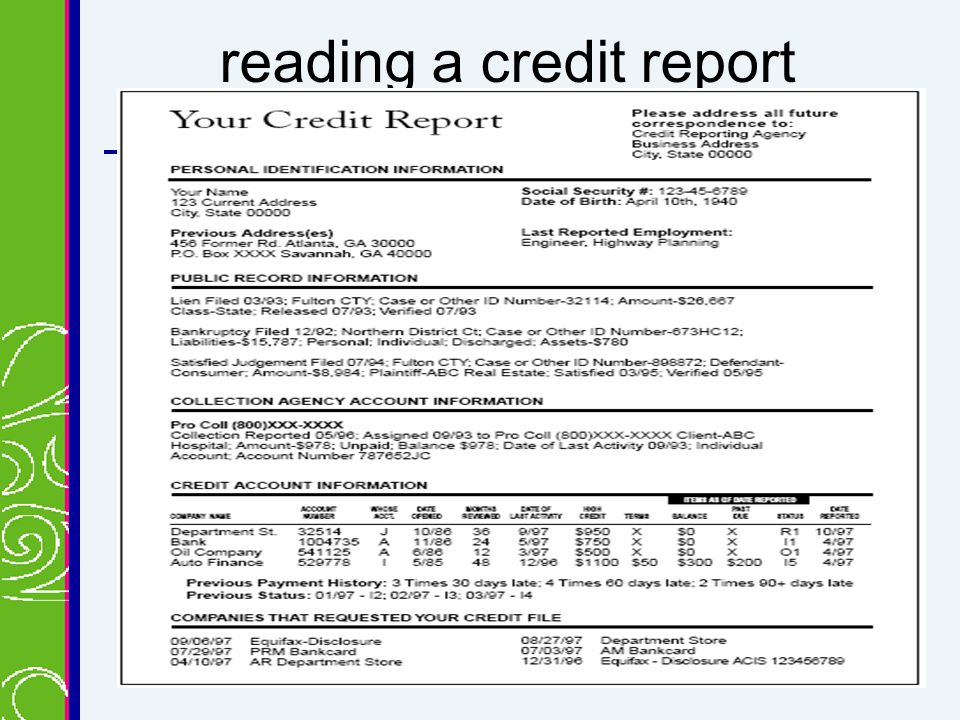 reading a credit report