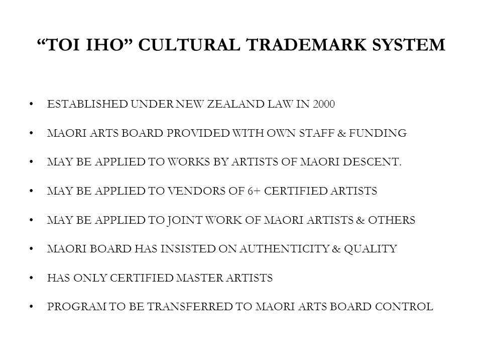 TOI IHO CULTURAL TRADEMARK SYSTEM