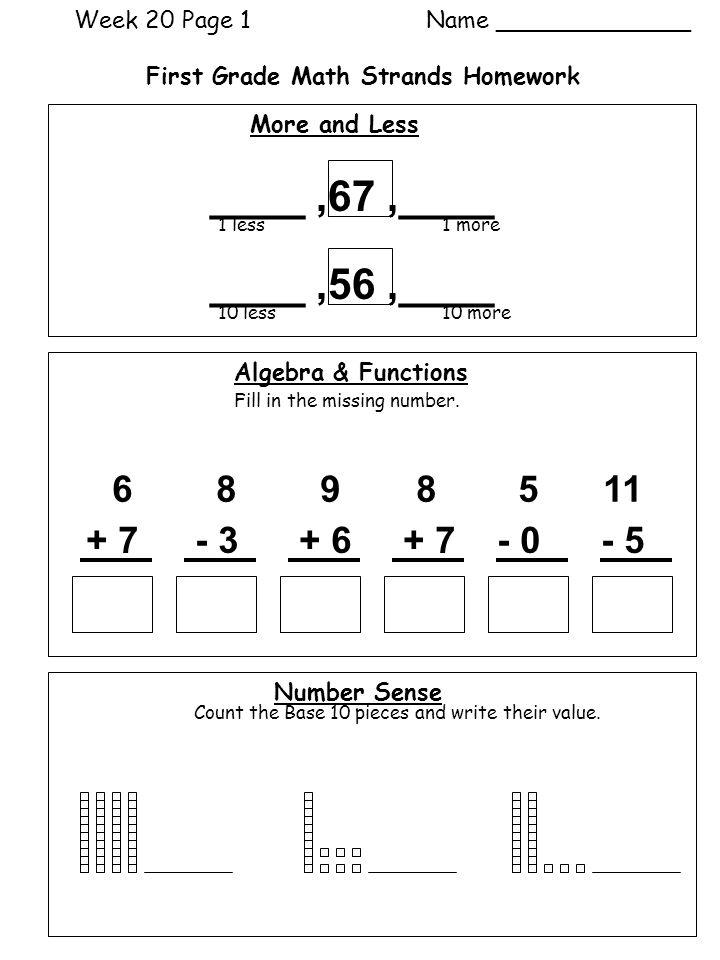 Week 16 Page 1 Name ______ First Grade Math Strands Homework - ppt ...