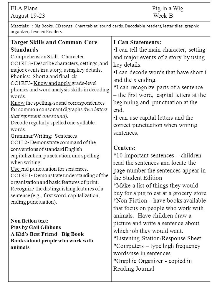 Target Skills And Common Core Standards I Can Statements