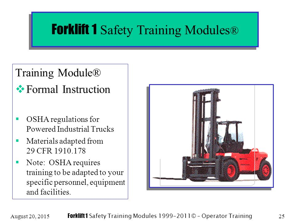 Forklift 1 Safety Training Modules Ppt Download