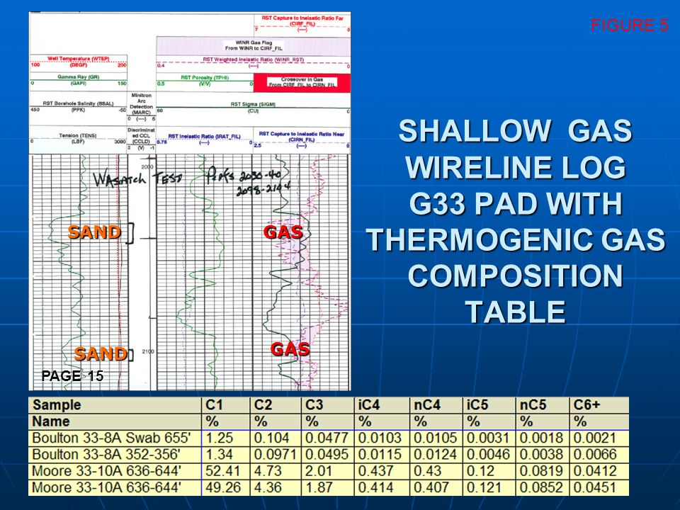 SAND GAS FIGURE 5 SHALLOW GAS WIRELINE LOG G33 PAD WITH THERMOGENIC GAS COMPOSITION TABLE PAGE 15
