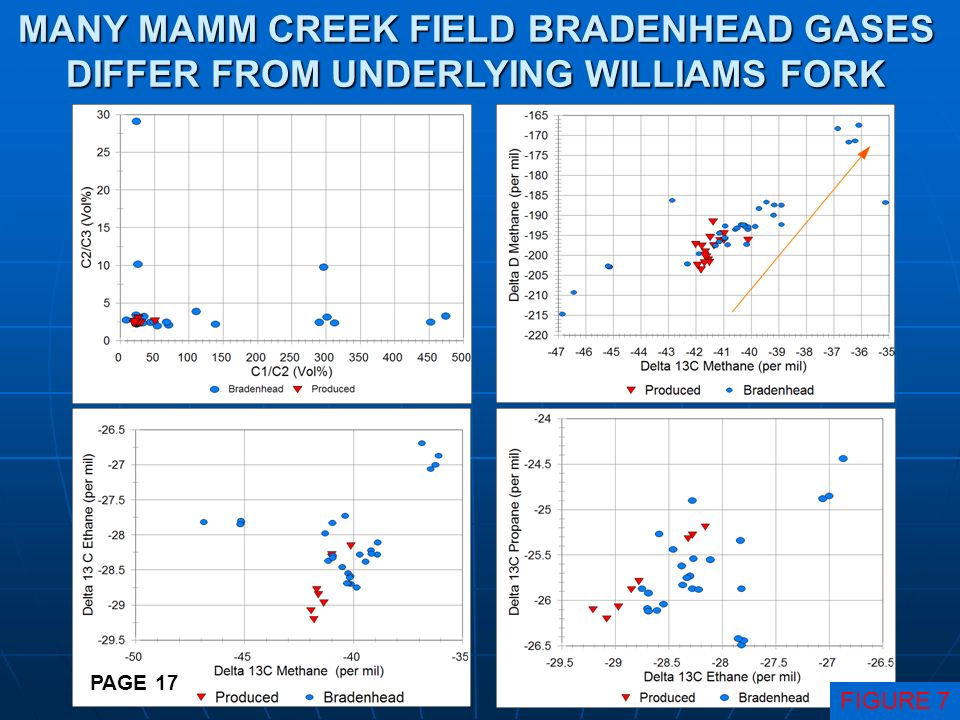 MANY MAMM CREEK FIELD BRADENHEAD GASES DIFFER FROM UNDERLYING WILLIAMS FORK