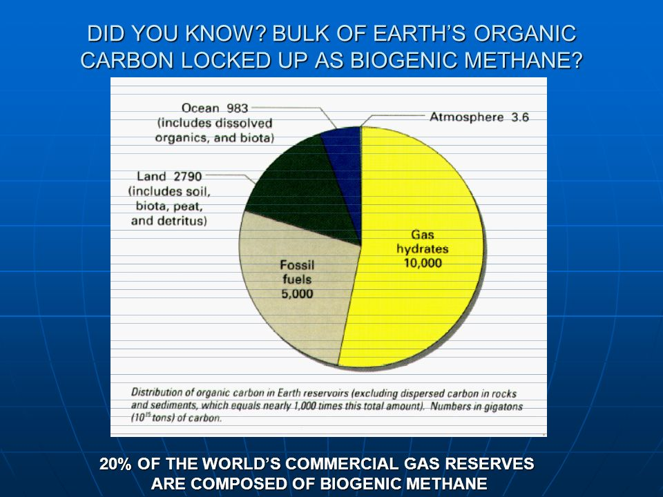 DID YOU KNOW BULK OF EARTH'S ORGANIC CARBON LOCKED UP AS BIOGENIC METHANE