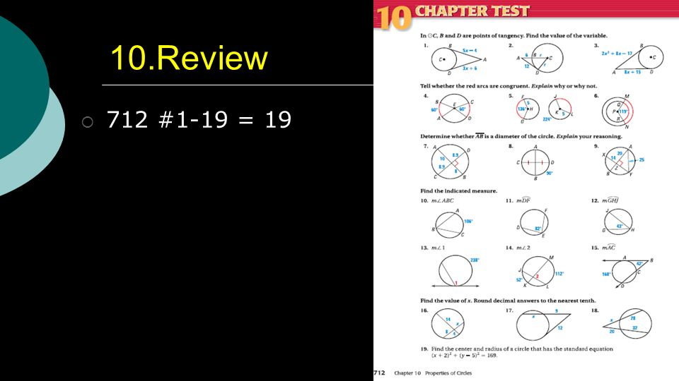 Properties of Circles Geometry Chapter 10 Geometry ppt download