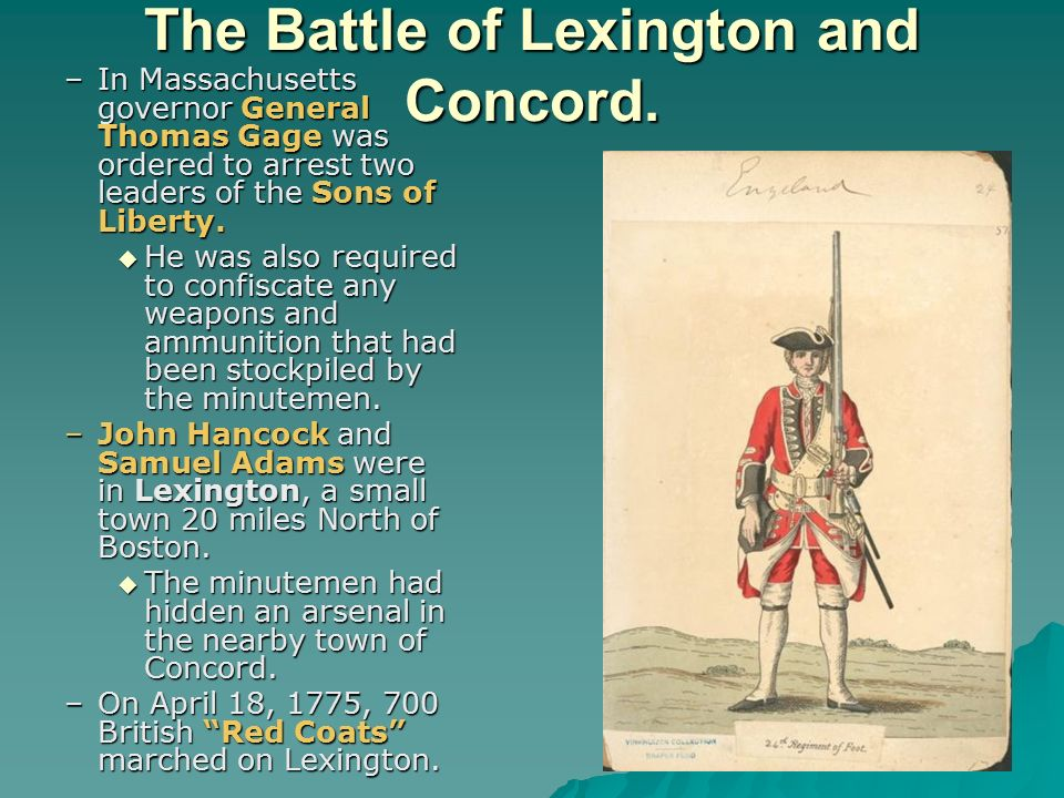 The Battle of Lexington and Concord.