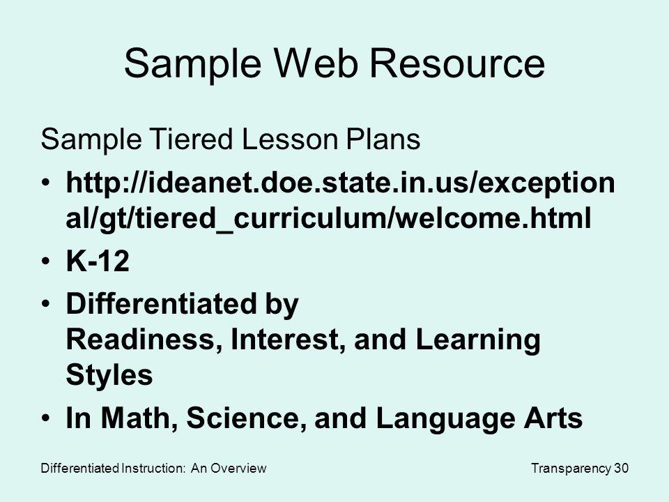 Sample Lesson Plans Differentiated Instruction Math Nemetas