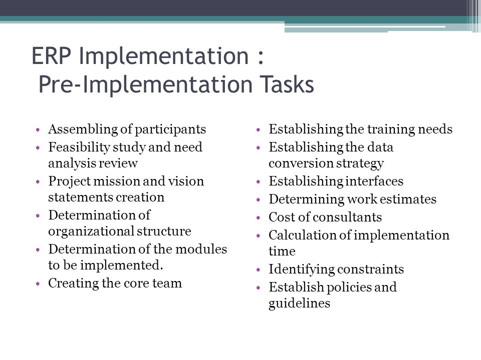 erp implementation project essay Prepare an outline structured on the erp implementation project you plan to execute ensure the application of the concepts and techniques learnt in this module, such as: erp, mis, enterprise system architectures, risk management.