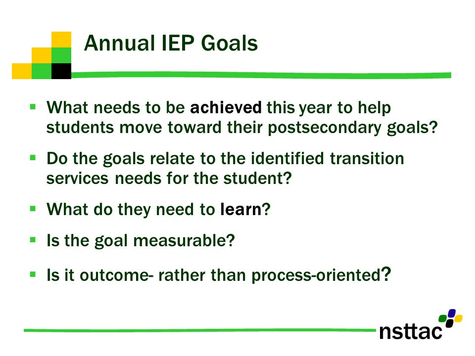 Annual Iep Goals >> Making The Connection Postsecondary And Annual Iep Goals Ppt