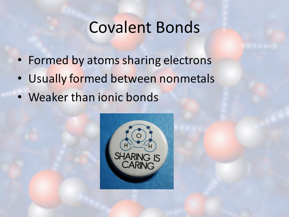 Covalent Bonds Formed by atoms sharing electrons