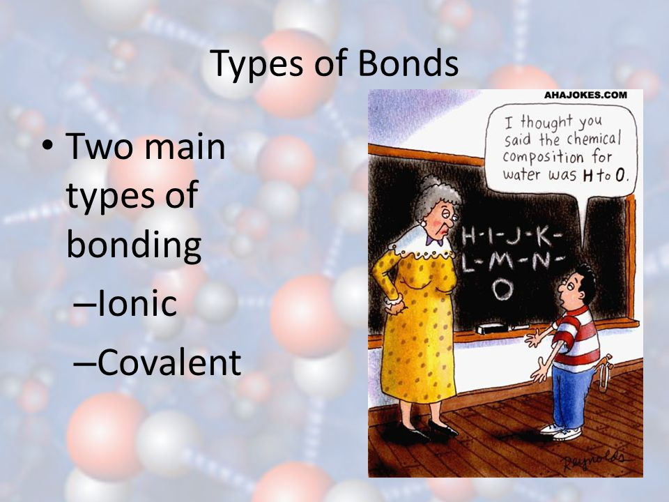 Types of Bonds Two main types of bonding Ionic Covalent