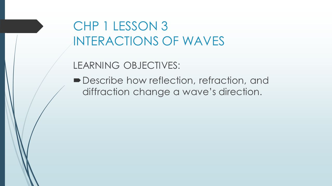 CHP 1 LESSON 3 INTERACTIONS OF WAVES