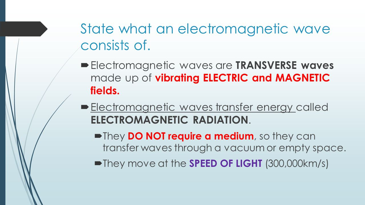 State what an electromagnetic wave consists of.