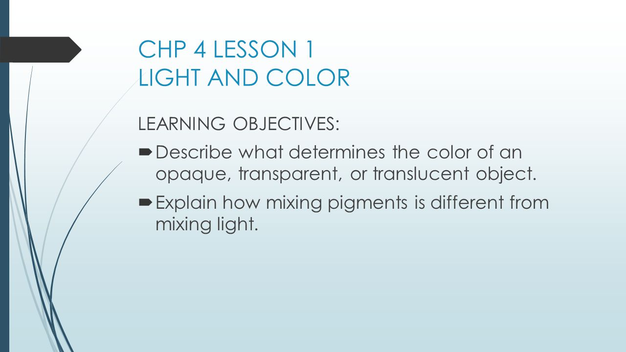 CHP 4 LESSON 1 LIGHT AND COLOR