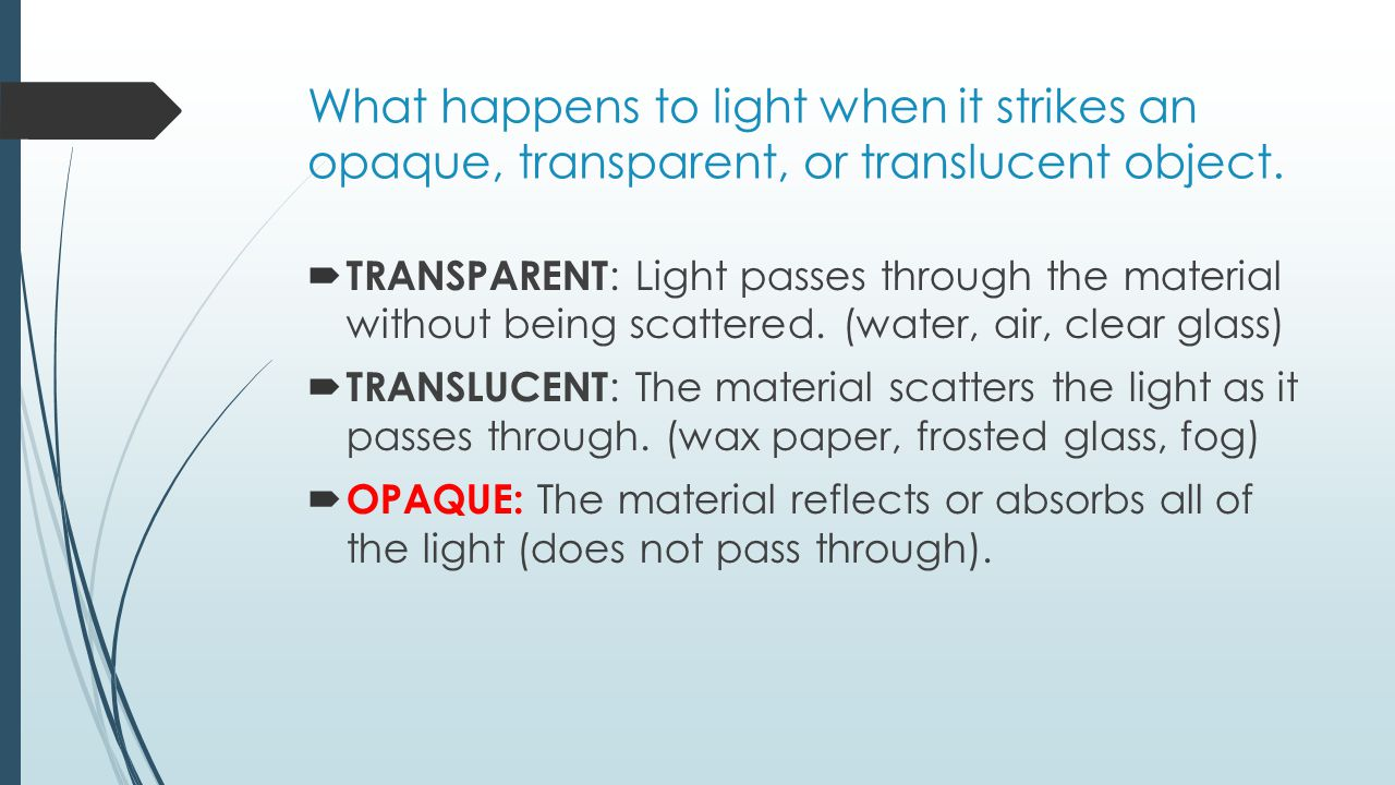 What happens to light when it strikes an opaque, transparent, or translucent object.
