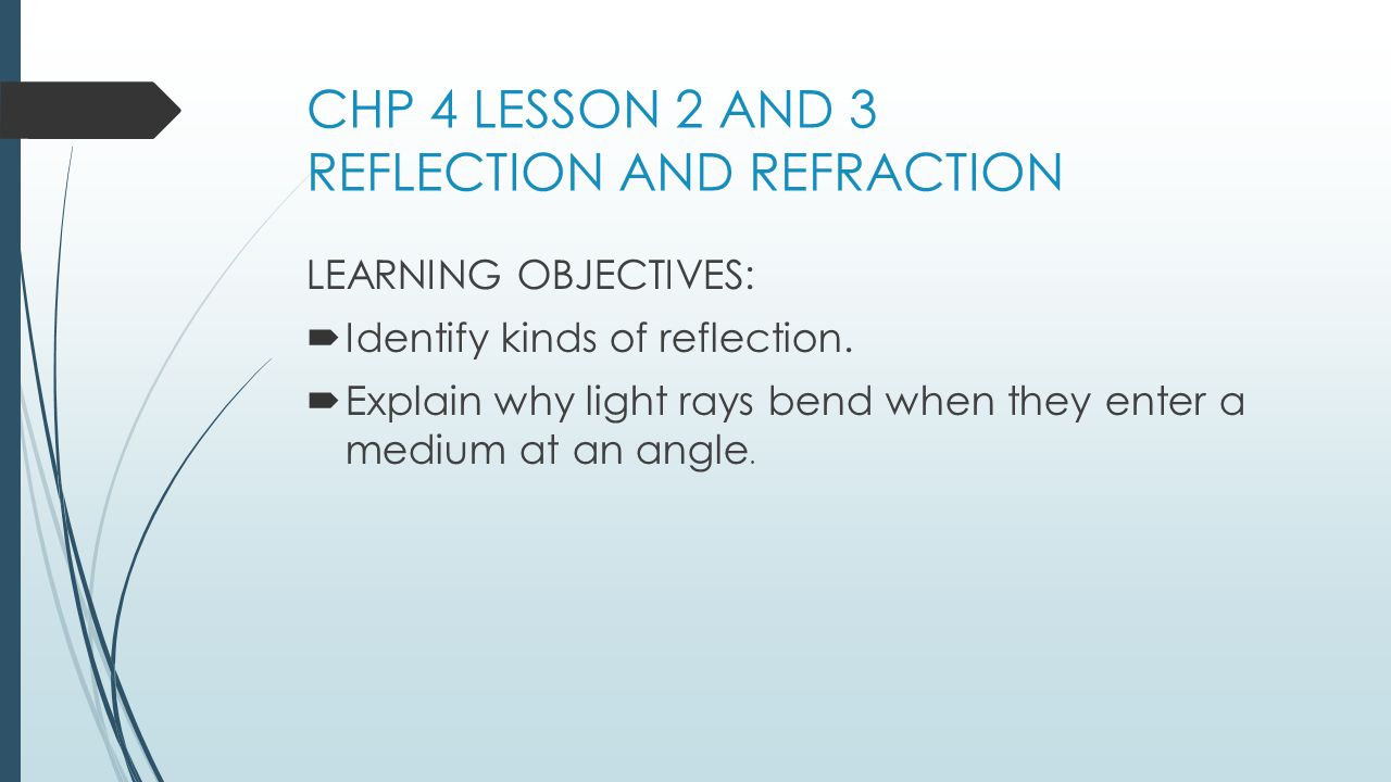 CHP 4 LESSON 2 AND 3 REFLECTION AND REFRACTION