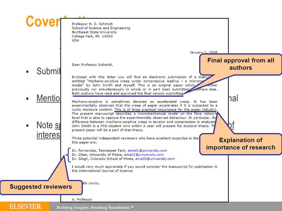 Cover Letter For Elsevier Journal File Type Doc