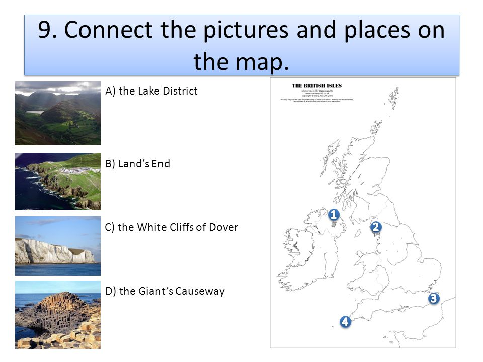 9. Connect the pictures and places on the map.