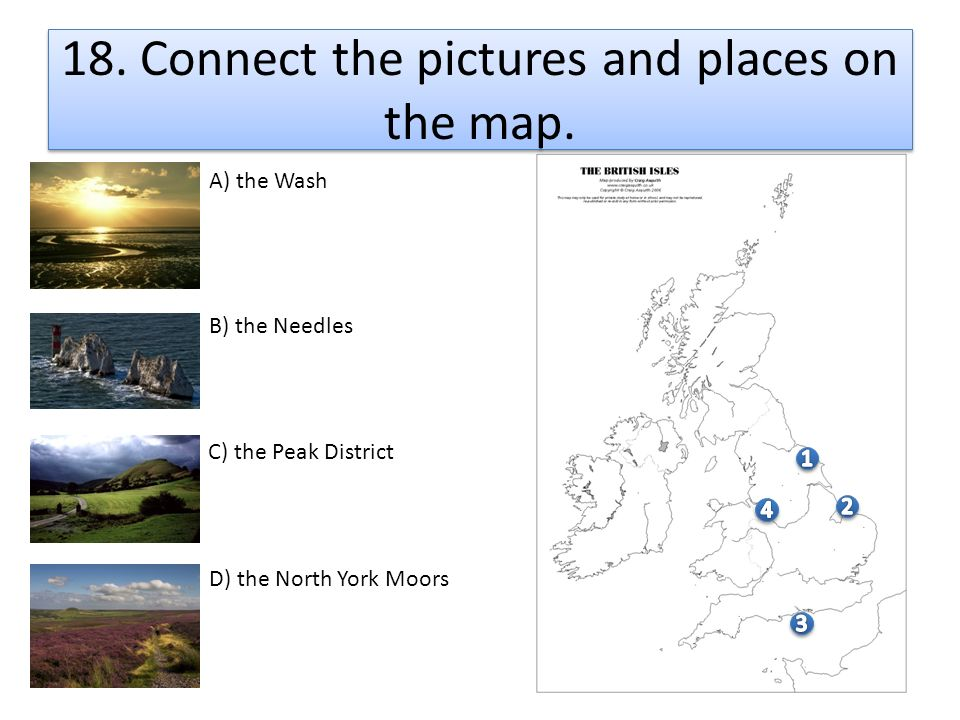 18. Connect the pictures and places on the map.