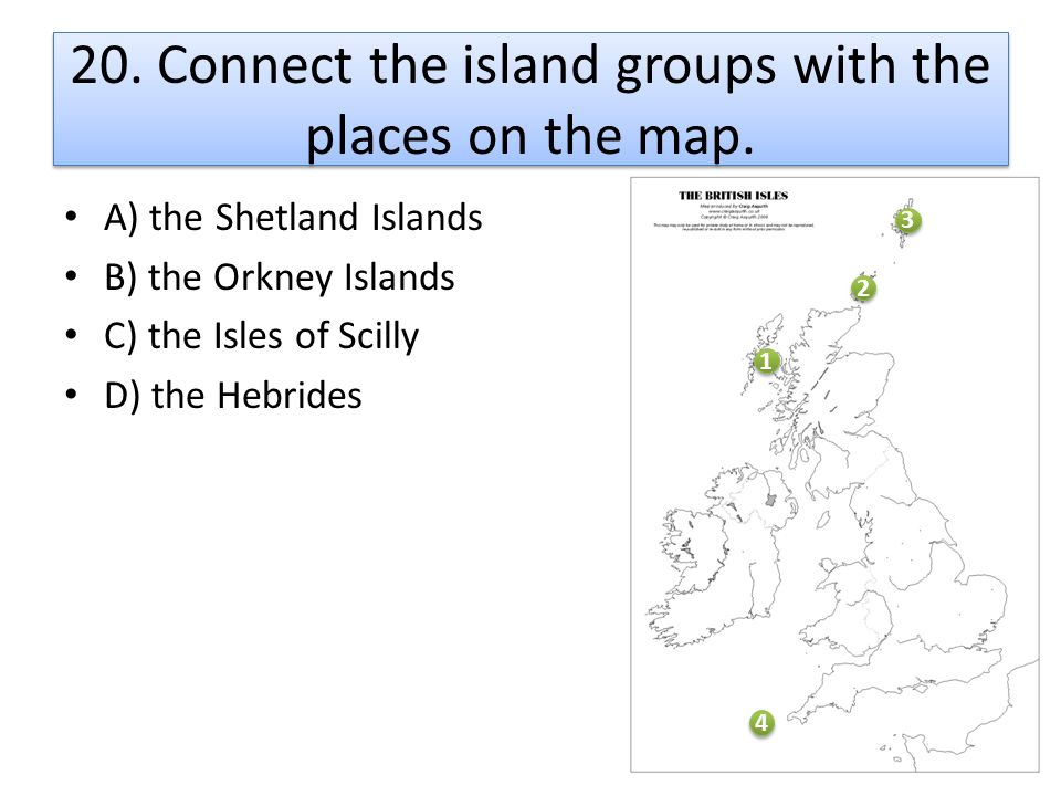 20. Connect the island groups with the places on the map.