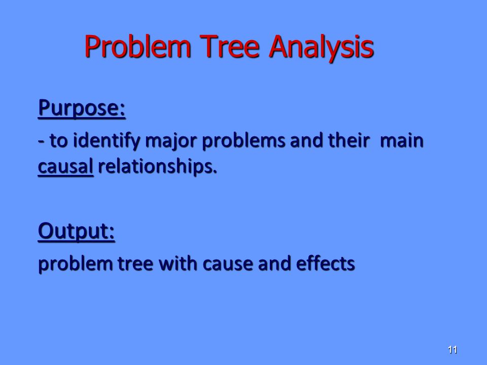 Problem Tree Analysis Purpose: Output: