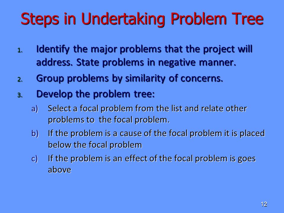 Steps in Undertaking Problem Tree