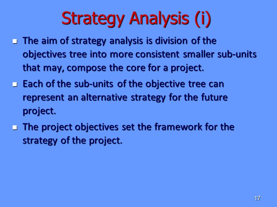 Strategy Analysis (i)