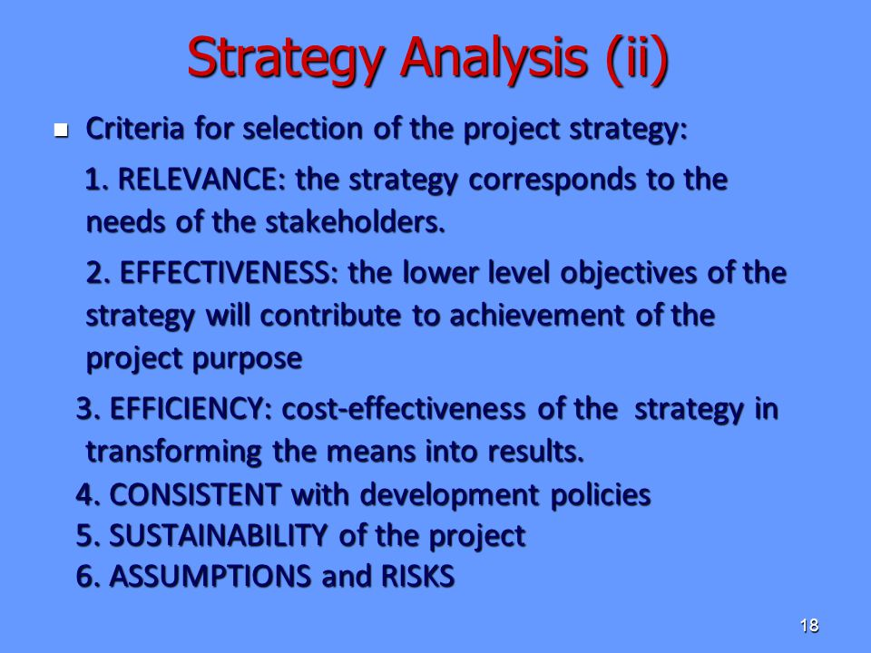 Strategy Analysis (ii)
