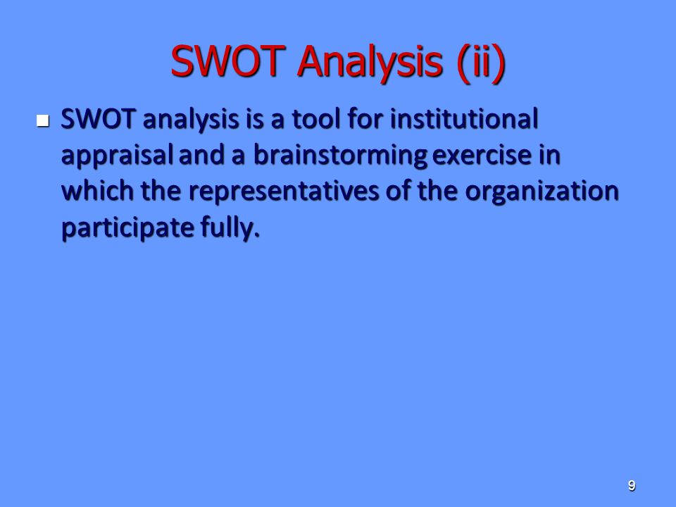 SWOT Analysis (ii)