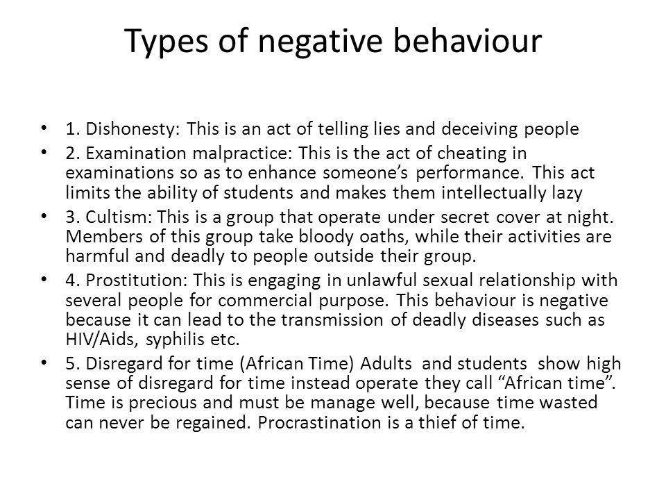 Types of negative behaviour