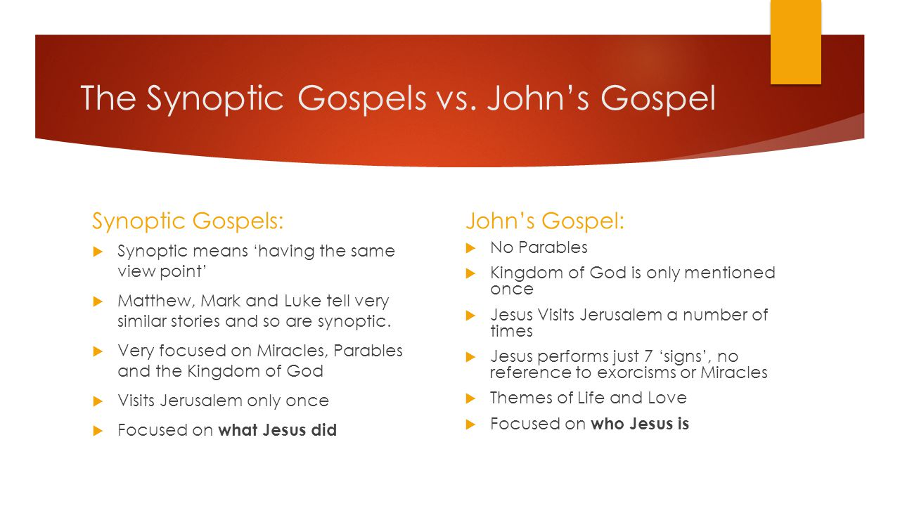 The Synoptic Gospels vs. John's Gospel